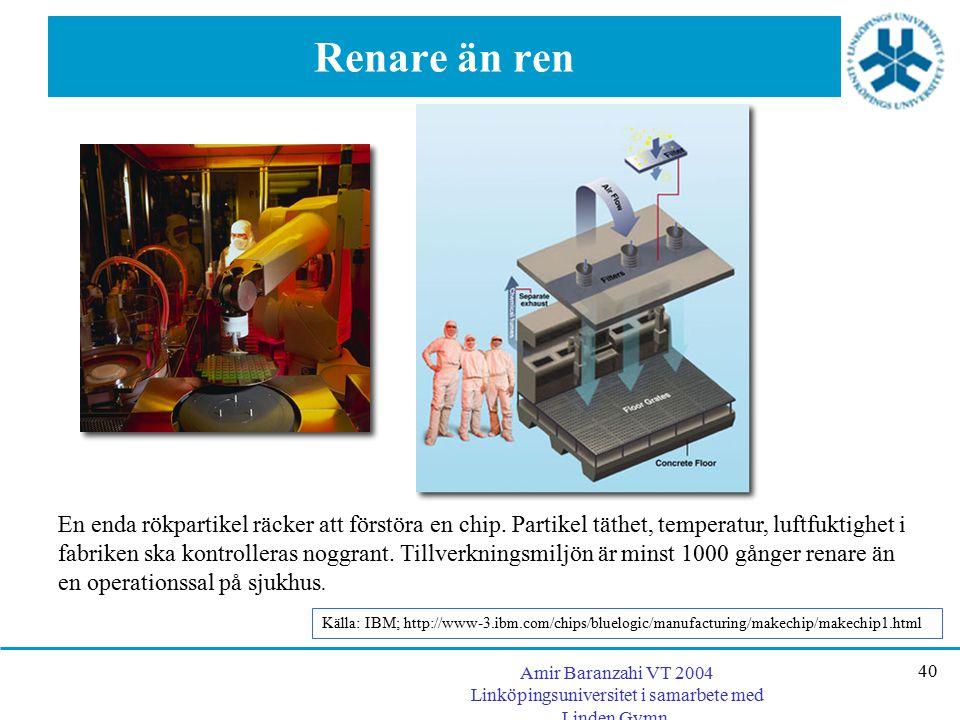 Amir Baranzahi VT 2004 Linköpingsuniversitet i samarbete med Linden Gymn. 40 Renare än ren En enda rökpartikel räcker att förstöra en chip. Partikel t