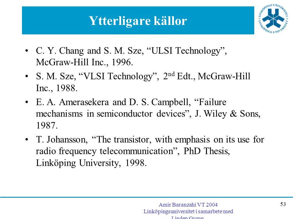 "Amir Baranzahi VT 2004 Linköpingsuniversitet i samarbete med Linden Gymn. 53 Ytterligare källor C. Y. Chang and S. M. Sze, ""ULSI Technology"", McGraw-H"
