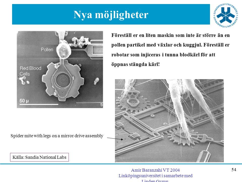 Amir Baranzahi VT 2004 Linköpingsuniversitet i samarbete med Linden Gymn. 54 Nya möjligheter Föreställ er en liten maskin som inte är större än en pol
