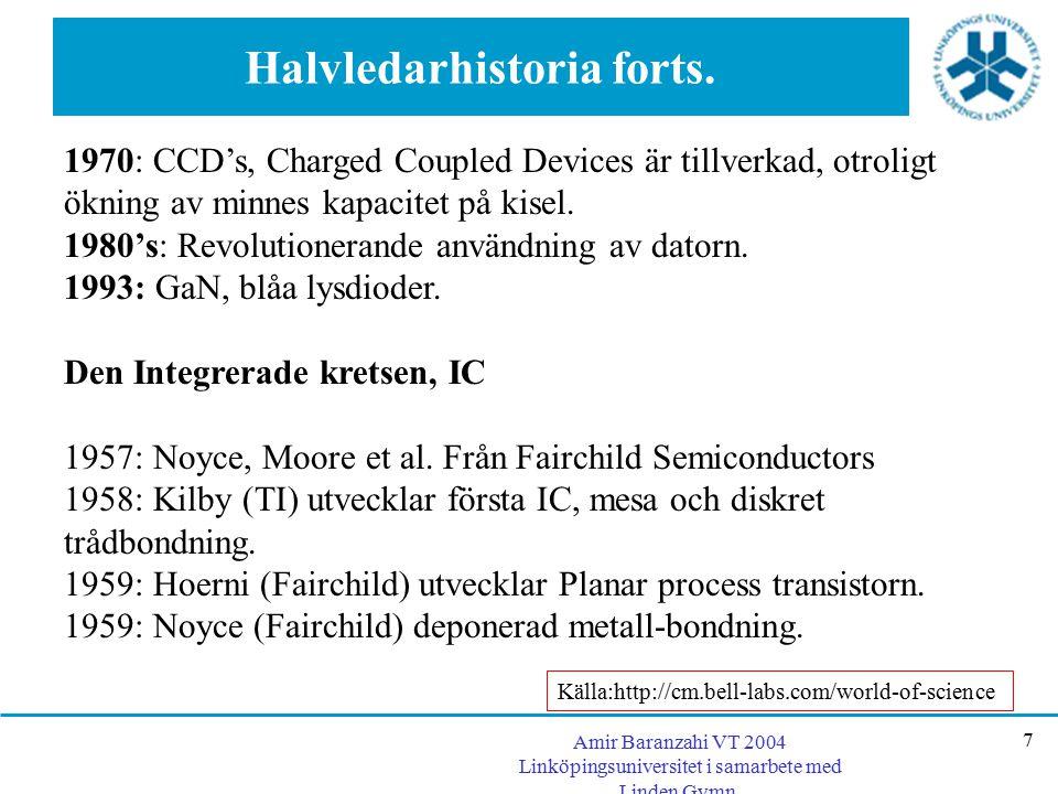 Amir Baranzahi VT 2004 Linköpingsuniversitet i samarbete med Linden Gymn. 7 Halvledarhistoria forts. 1970: CCD's, Charged Coupled Devices är tillverka