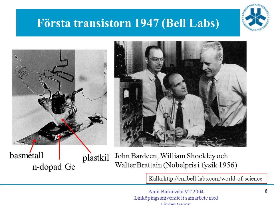 Amir Baranzahi VT 2004 Linköpingsuniversitet i samarbete med Linden Gymn. 8 Första transistorn 1947 (Bell Labs) John Bardeen, William Shockley och Wal