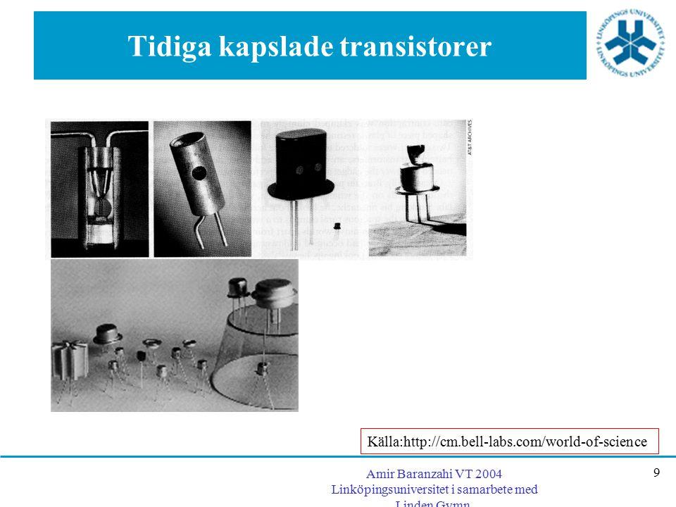 Amir Baranzahi VT 2004 Linköpingsuniversitet i samarbete med Linden Gymn. 9 Tidiga kapslade transistorer Källa:http://cm.bell-labs.com/world-of-scienc