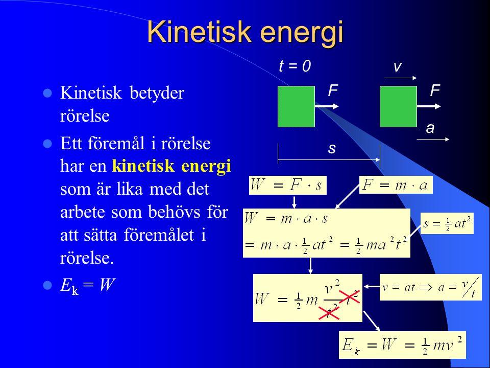 Kinetisk energi Kinetisk betyder rörelse Ett föremål i rörelse har en kinetisk energi som är lika med det arbete som behövs för att sätta föremålet i rörelse.