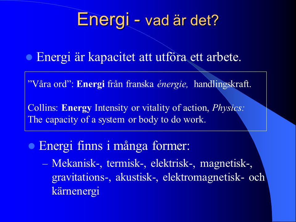 """Energi - vad är det? Energi är kapacitet att utföra ett arbete. """"Våra ord"""": Energi från franska énergie, handlingskraft. Collins: Energy Intensity or"""