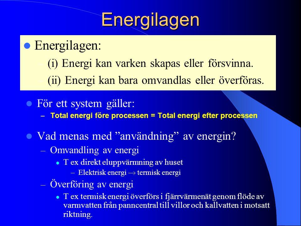 Energilagen För ett system gäller: – Total energi före processen = Total energi efter processen Vad menas med användning av energin.