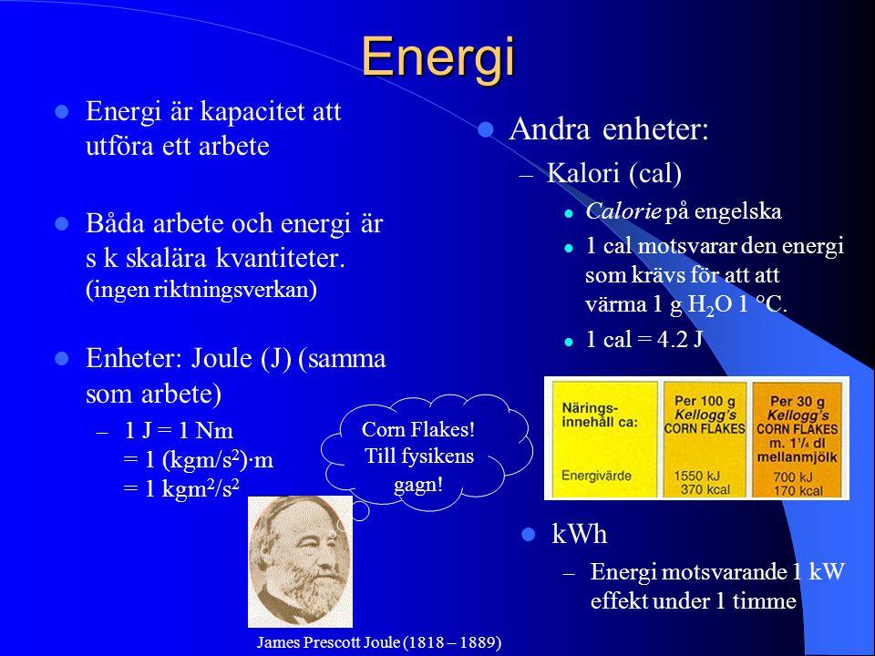 Energi Energi är kapacitet att utföra ett arbete Båda arbete och energi är s k skalära kvantiteter. (ingen riktningsverkan) Enheter: Joule (J) (samma