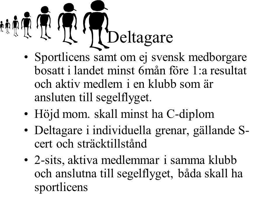 Deltagare Sportlicens samt om ej svensk medborgare bosatt i landet minst 6mån före 1:a resultat och aktiv medlem i en klubb som är ansluten till segelflyget.