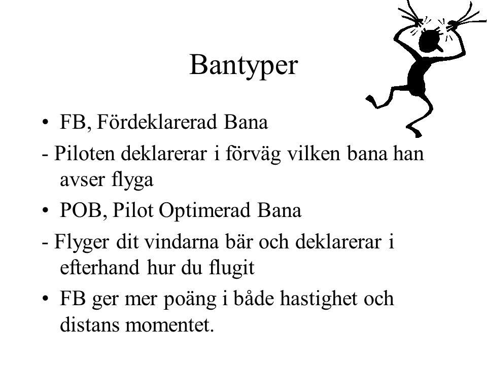 Bantyper FB, Fördeklarerad Bana - Piloten deklarerar i förväg vilken bana han avser flyga POB, Pilot Optimerad Bana - Flyger dit vindarna bär och deklarerar i efterhand hur du flugit FB ger mer poäng i både hastighet och distans momentet.
