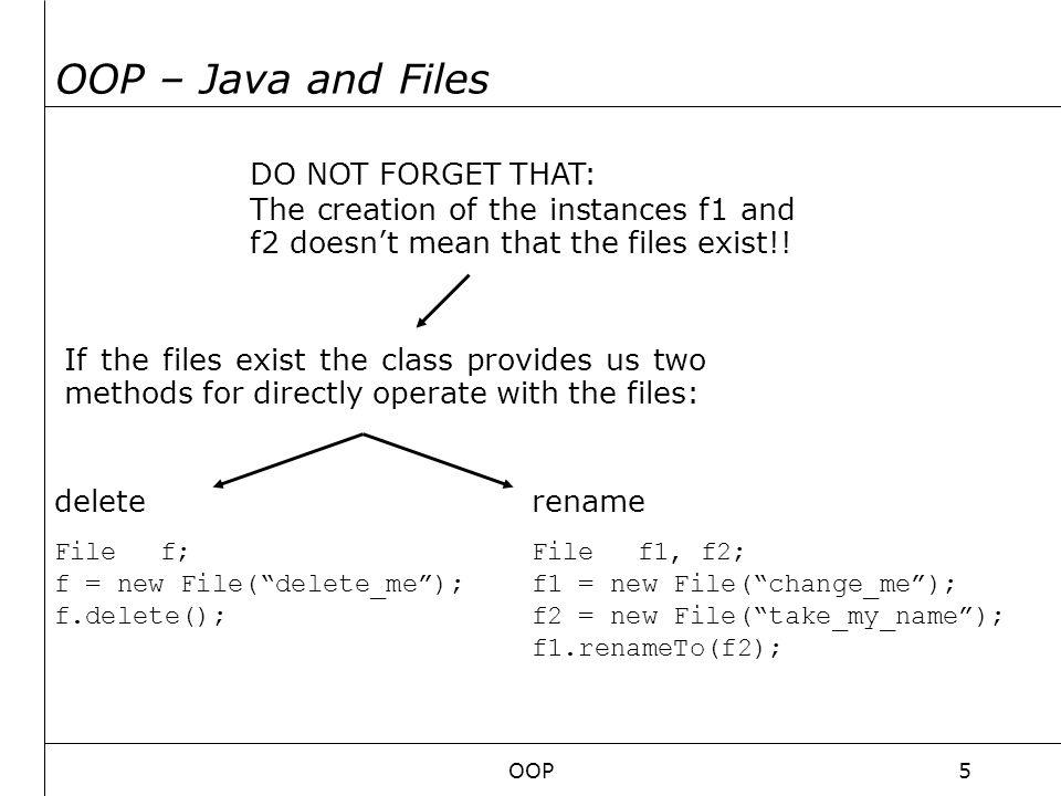 OOP6 OOP – Java streams into files Java program FileOutputStream SHOPPING potatis mjolk agg … shopping.lst bytes of data ewsc24rfds53Hej20Hur20m76ar20du20?rsf