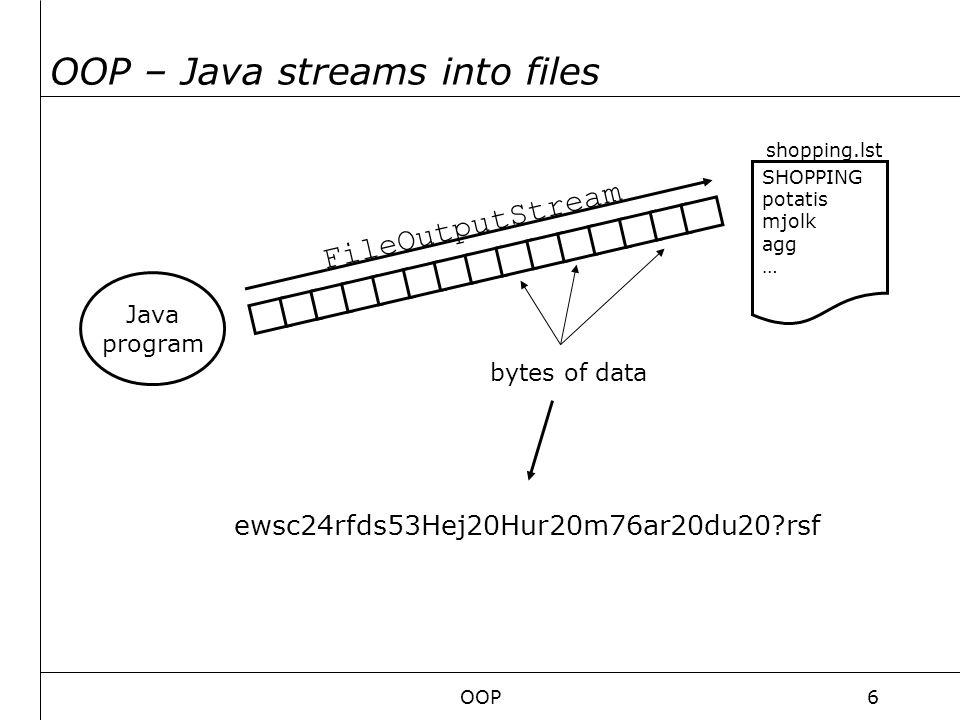 OOP17 GUI Består av: Containers – Behållare tex: JFrame, JApplet, JWindow, LayoutManagers – Bestämmer hur layouten byggs upp tex: GridLayout, BorderLayout.