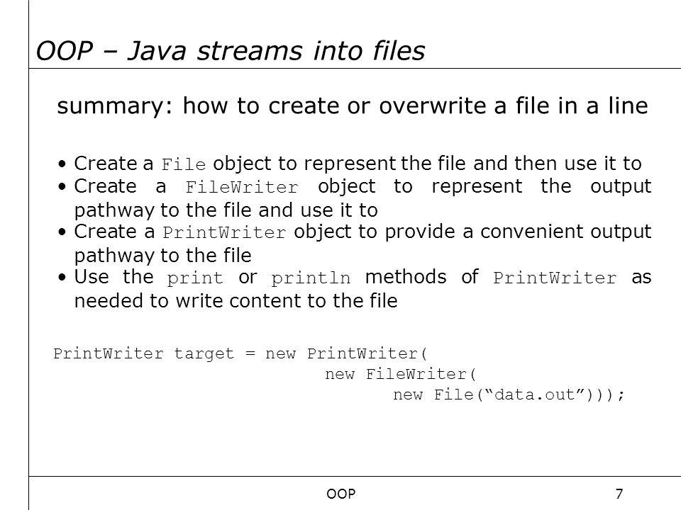 OOP8 OOP – input … an overview Java program InputStream bytes of data ewsc24rfds53Hej20Hur20m76ar20du20?rsf Input source We must build a bridge between the Java Program and the input source!!