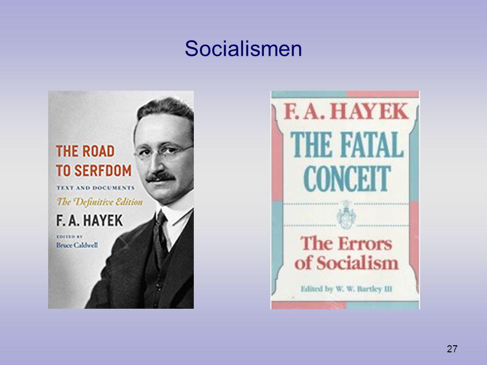 26 Socialismen Argumenten för frihet Ekonomisk kalkylering Den dolda kunskapen The Road to Serfdom