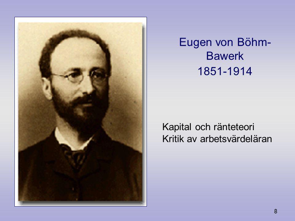 7 Carl Menger (1840- 1921) Grundare av den österrikiska skolan. Marginalnytteteorin