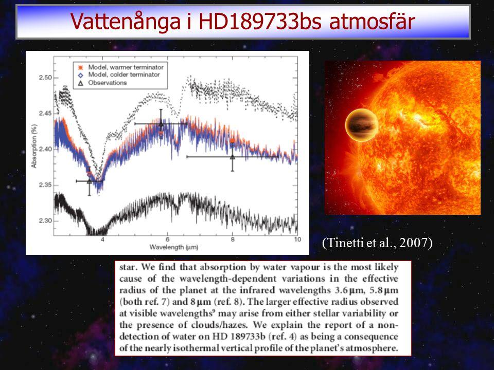 (Tinetti et al., 2007) Vattenånga i HD189733bs atmosfär