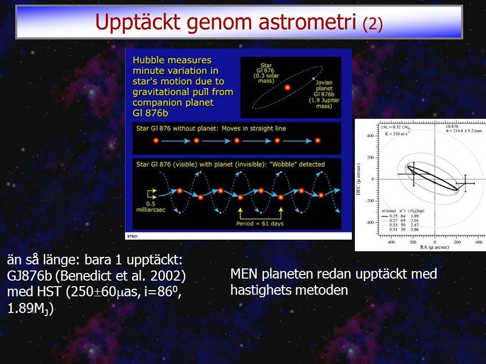 än så länge: bara 1 upptäckt: GJ876b (Benedict et al.