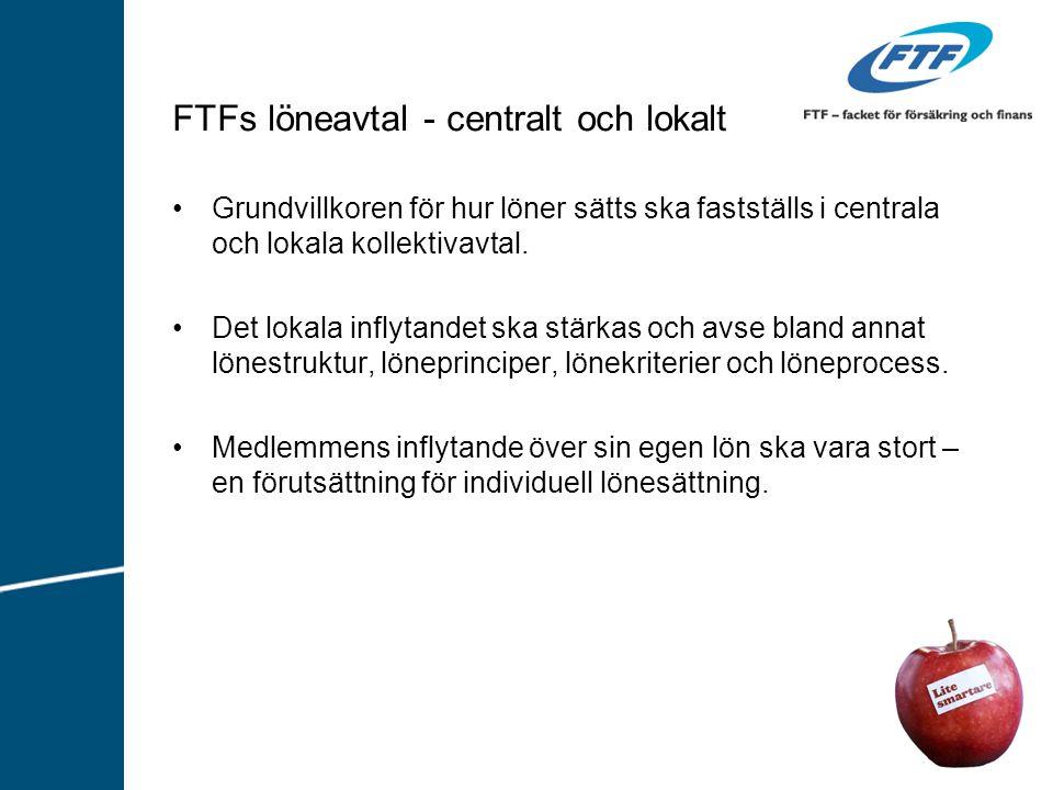 FTFs löneavtal - centralt och lokalt Grundvillkoren för hur löner sätts ska fastställs i centrala och lokala kollektivavtal.