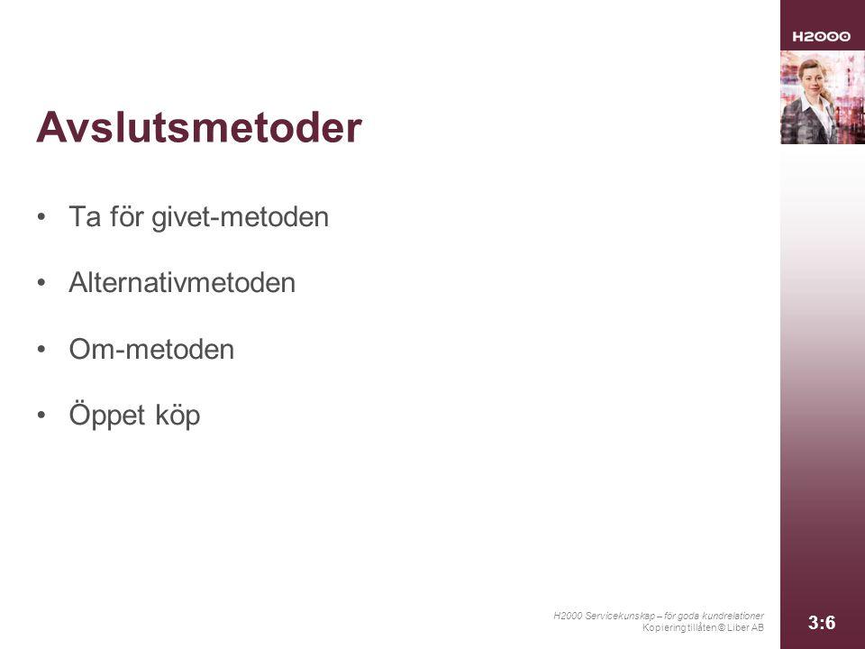 H2000 Servicekunskap – för goda kundrelationer Kopiering tillåten © Liber AB 3:6 Avslutsmetoder Ta för givet-metoden Alternativmetoden Om-metoden Öppe