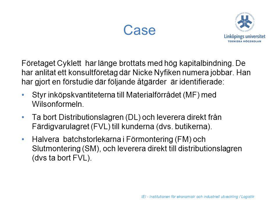 IEI - Institutionen för ekonomisk och industriell utveckling / Logistik Case Företaget Cyklett har länge brottats med hög kapitalbindning. De har anli