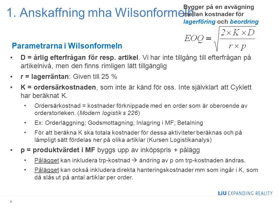 1. Anskaffning mha Wilsonformeln 5 Parametrarna i Wilsonformeln D = årlig efterfrågan för resp. artikel. Vi har inte tillgång till efterfrågan på arti