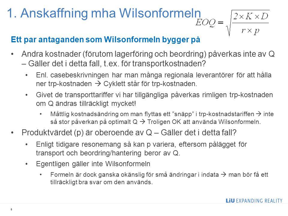1. Anskaffning mha Wilsonformeln 6 Ett par antaganden som Wilsonformeln bygger på Andra kostnader (förutom lagerföring och beordring) påverkas inte av