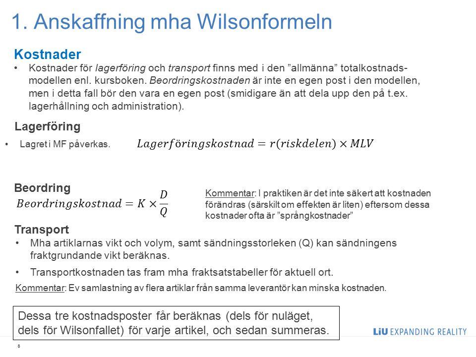 """1. Anskaffning mha Wilsonformeln 8 Kostnader Lagerföring Kostnader för lagerföring och transport finns med i den """"allmänna"""" totalkostnads- modellen en"""