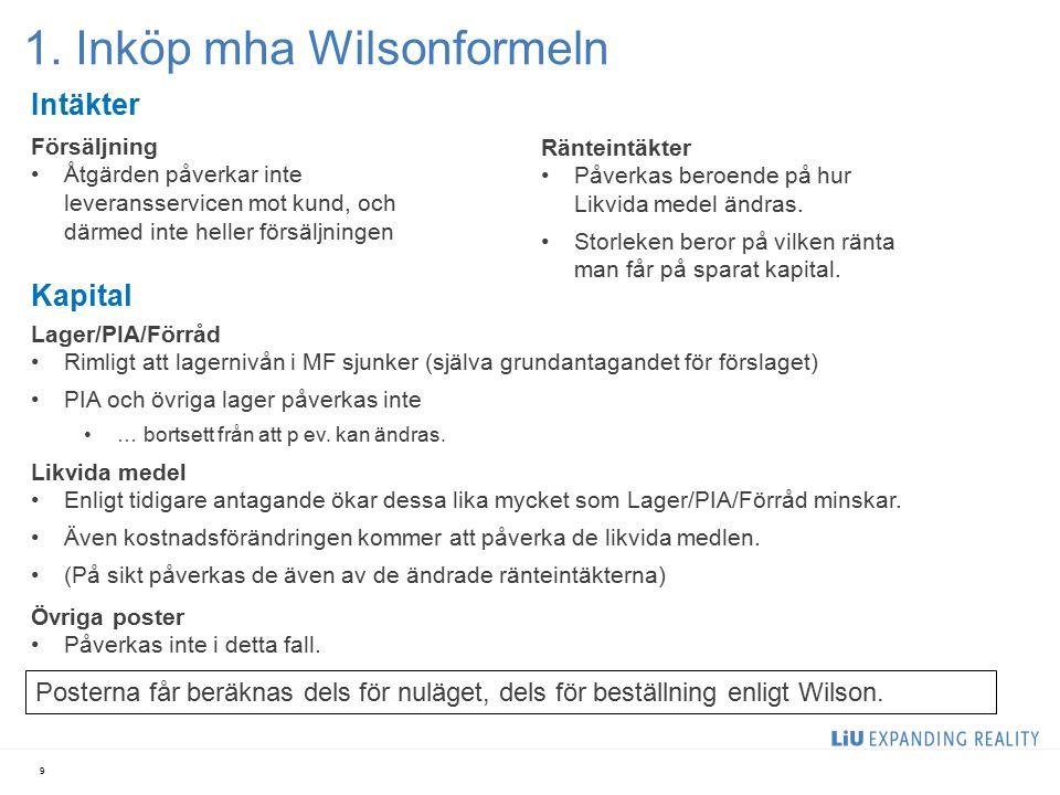1. Inköp mha Wilsonformeln 9 Kapital Lager/PIA/Förråd Rimligt att lagernivån i MF sjunker (själva grundantagandet för förslaget) PIA och övriga lager