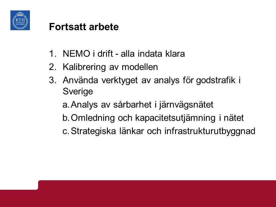 Fortsatt arbete 1.NEMO i drift - alla indata klara 2.Kalibrering av modellen 3.Använda verktyget av analys för godstrafik i Sverige a.Analys av sårbarhet i järnvägsnätet b.Omledning och kapacitetsutjämning i nätet c.Strategiska länkar och infrastrukturutbyggnad