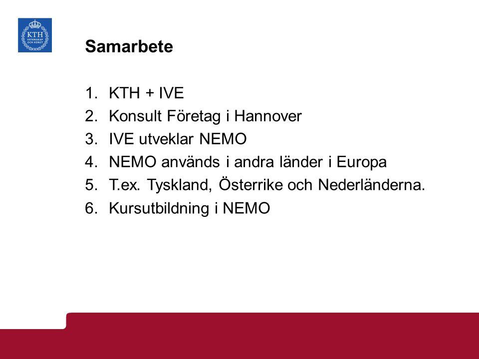 Samarbete 1.KTH + IVE 2.Konsult Företag i Hannover 3.IVE utveklar NEMO 4.NEMO används i andra länder i Europa 5.T.ex. Tyskland, Österrike och Nederlän