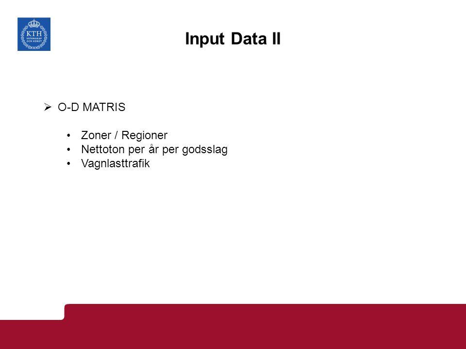Input Data II  O-D MATRIS Zoner / Regioner Nettoton per år per godsslag Vagnlasttrafik