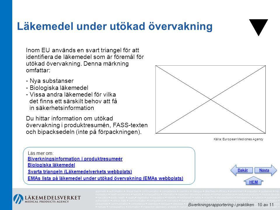 Läkemedel under utökad övervakning Inom EU används en svart triangel för att identifiera de läkemedel som är föremål för utökad övervakning. Denna mär