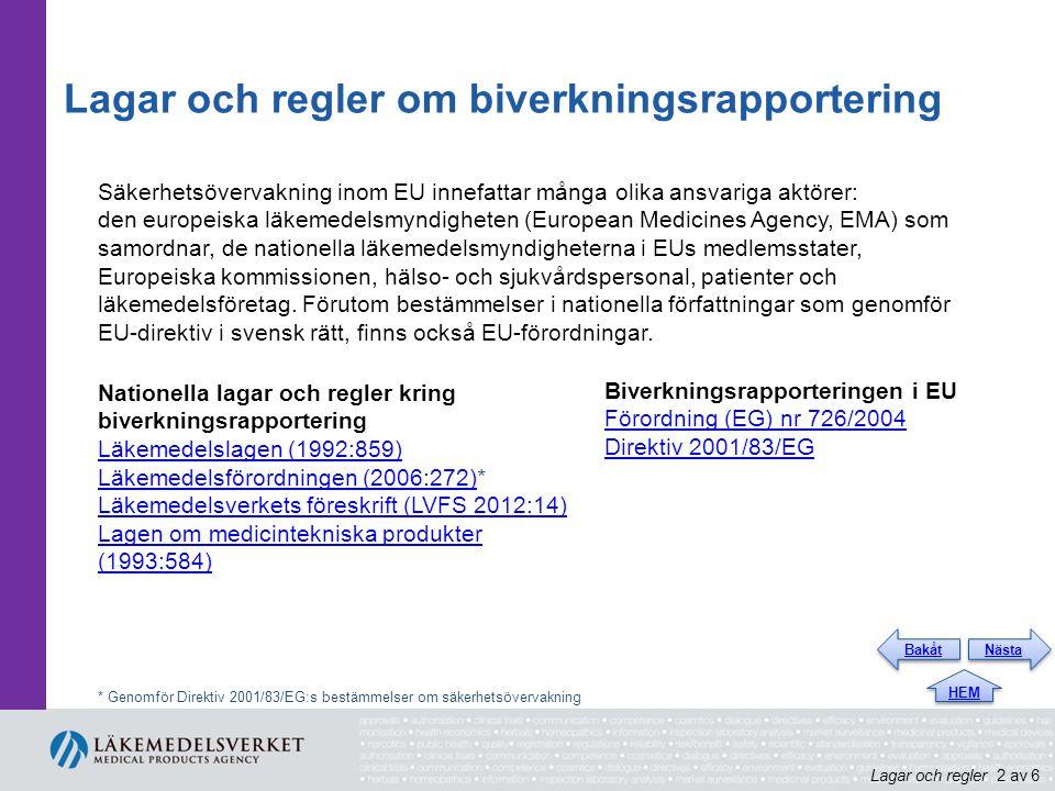 Lagar och regler om biverkningsrapportering Säkerhetsövervakning inom EU innefattar många olika ansvariga aktörer: den europeiska läkemedelsmyndigheten (European Medicines Agency, EMA) som samordnar, de nationella läkemedelsmyndigheterna i EUs medlemsstater, Europeiska kommissionen, hälso- och sjukvårdspersonal, patienter och läkemedelsföretag.