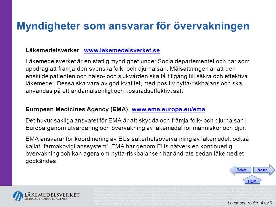 Myndigheter som ansvarar för övervakningen Läkemedelsverket www.lakemedelsverket.sewww.lakemedelsverket.se Läkemedelsverket är en statlig myndighet un