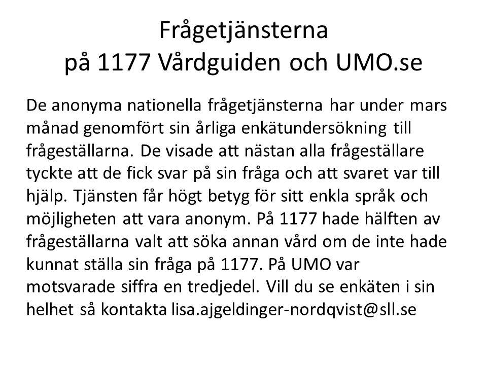 Frågetjänsterna på 1177 Vårdguiden och UMO.se De anonyma nationella frågetjänsterna har under mars månad genomfört sin årliga enkätundersökning till f