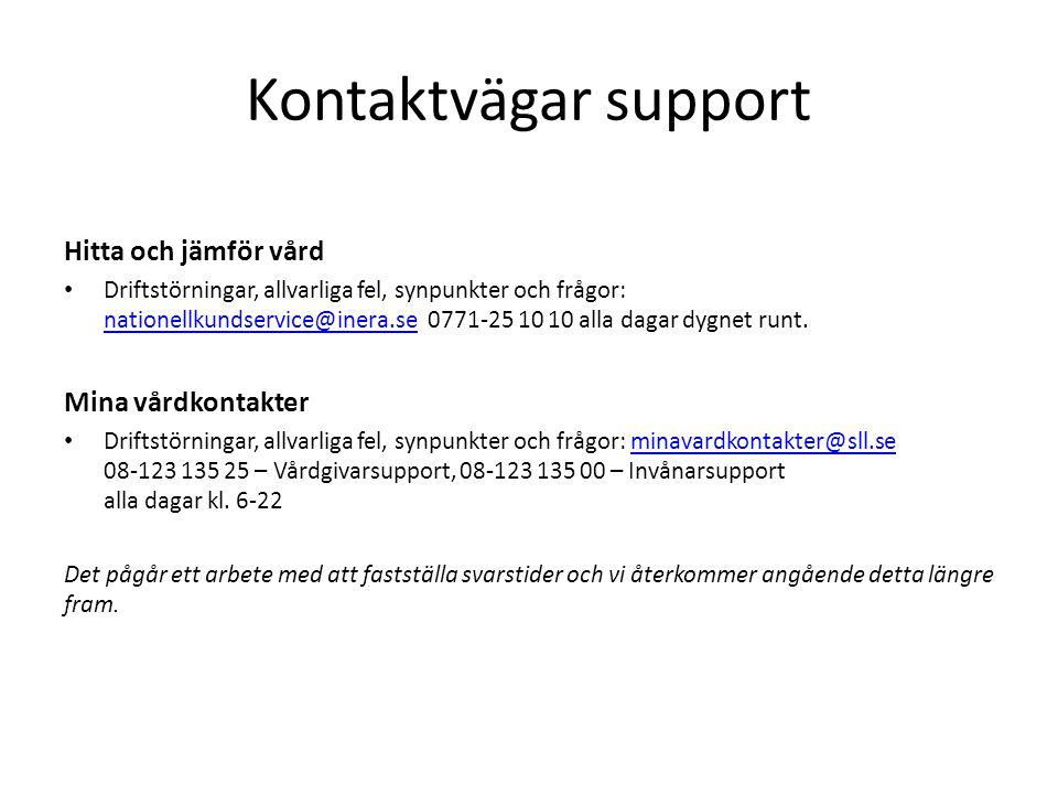 Kontaktvägar support Hitta och jämför vård Driftstörningar, allvarliga fel, synpunkter och frågor: nationellkundservice@inera.se 0771-25 10 10 alla da