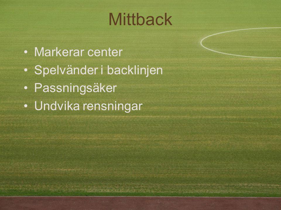 Markerar center Spelvänder i backlinjen Passningsäker Undvika rensningar Mittback