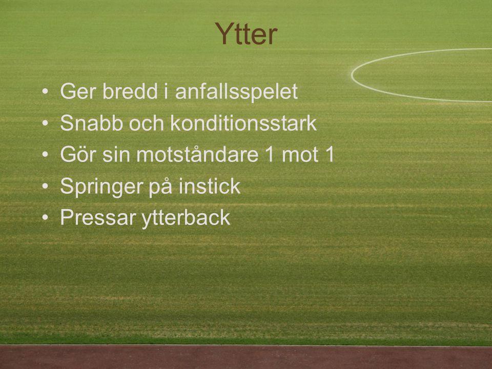 Ger bredd i anfallsspelet Snabb och konditionsstark Gör sin motståndare 1 mot 1 Springer på instick Pressar ytterback Ytter