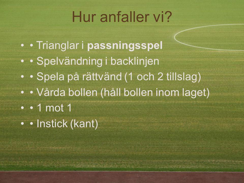 Trianglar i passningsspel Spelvändning i backlinjen Spela på rättvänd (1 och 2 tillslag) Vårda bollen (håll bollen inom laget) 1 mot 1 Instick (kant) Hur anfaller vi?