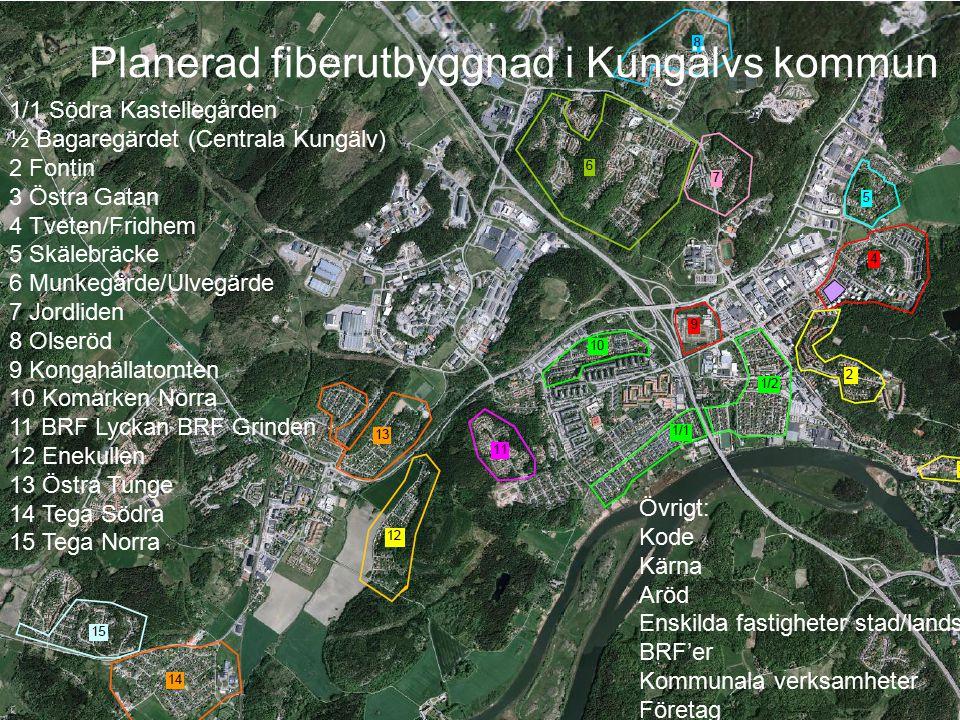 Planerad fiberutbyggnad i Kungälvs kommun www.kungalvenergi.se 1/1 Södra Kastellegården ½ Bagaregärdet (Centrala Kungälv) 2 Fontin 3 Östra Gatan 4 Tve