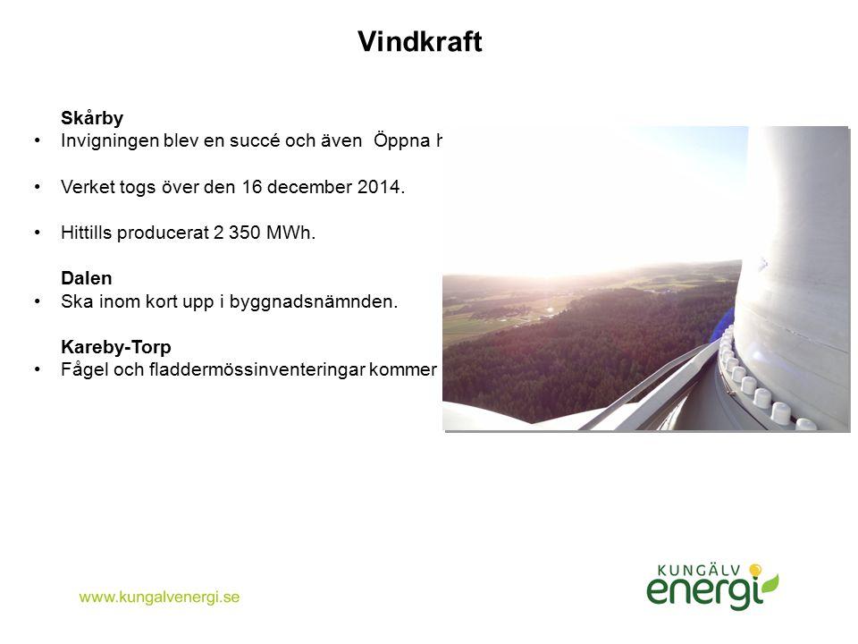 Vindkraft Skårby Invigningen blev en succé och även Öppna huset, 400 besökare. Verket togs över den 16 december 2014. Hittills producerat 2 350 MWh. D