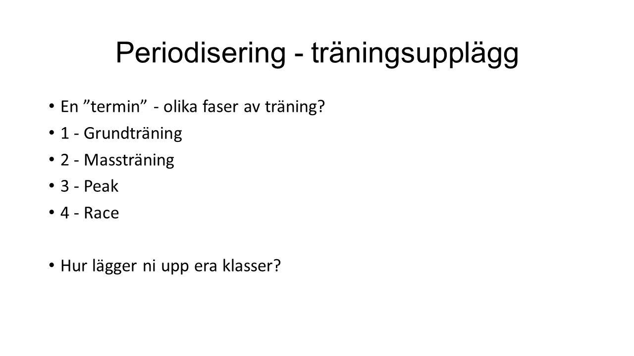 """Periodisering - träningsupplägg En """"termin"""" - olika faser av träning? 1 - Grundträning 2 - Massträning 3 - Peak 4 - Race Hur lägger ni upp era klasser"""