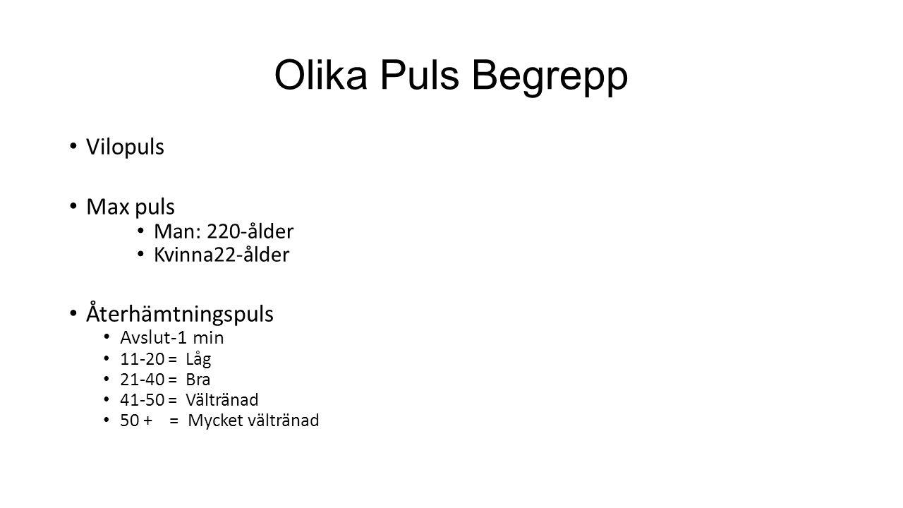 Olika Puls Begrepp Vilopuls Max puls Man: 220-ålder Kvinna22-ålder Återhämtningspuls Avslut-1 min 11-20 = Låg 21-40 = Bra 41-50 = Vältränad 50 + = Myc