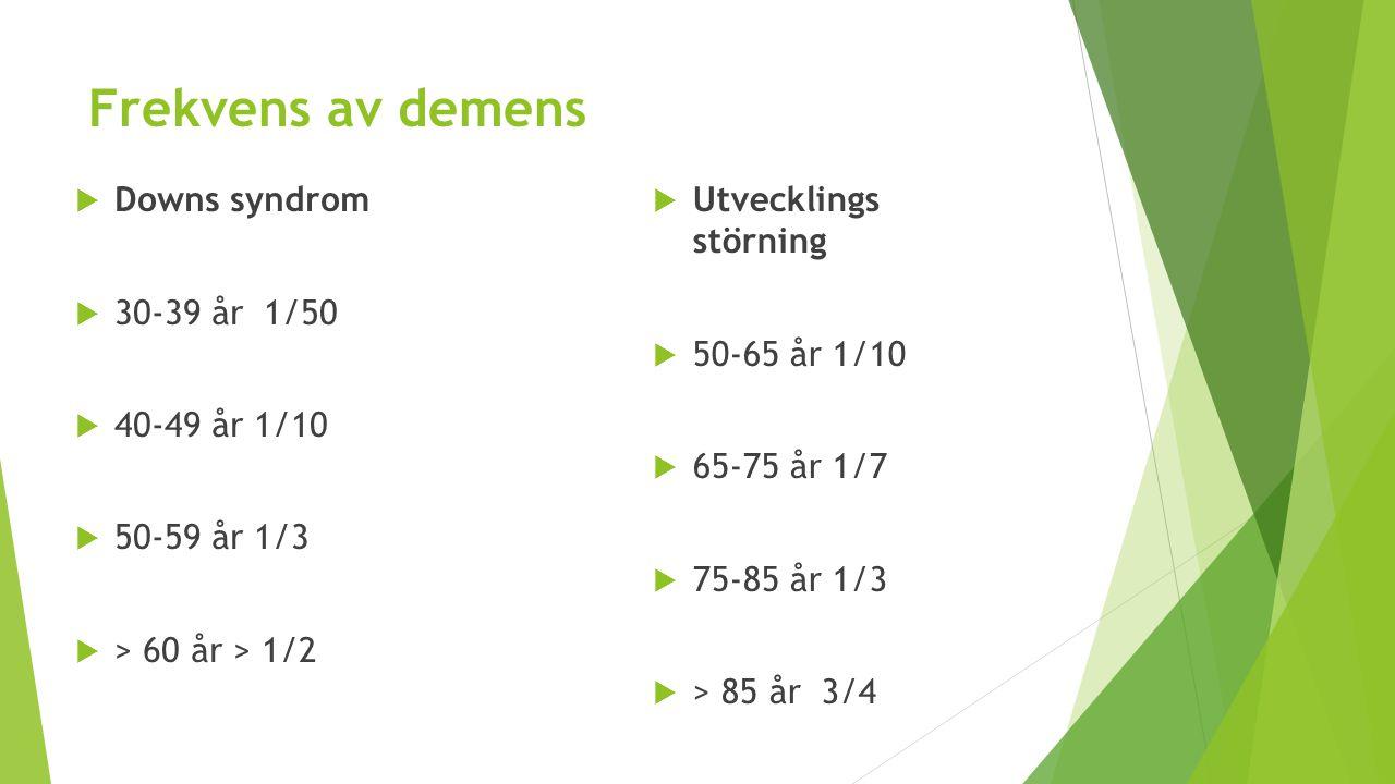Frekvens av demens  Downs syndrom  30-39 år 1/50  40-49 år 1/10  50-59 år 1/3  > 60 år > 1/2  Utvecklings störning  50-65 år 1/10  65-75 år 1/