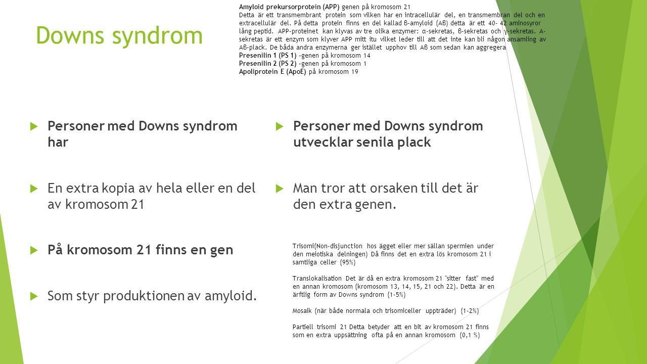 Downs syndrom  Personer med Downs syndrom har  En extra kopia av hela eller en del av kromosom 21  På kromosom 21 finns en gen  Som styr produktio