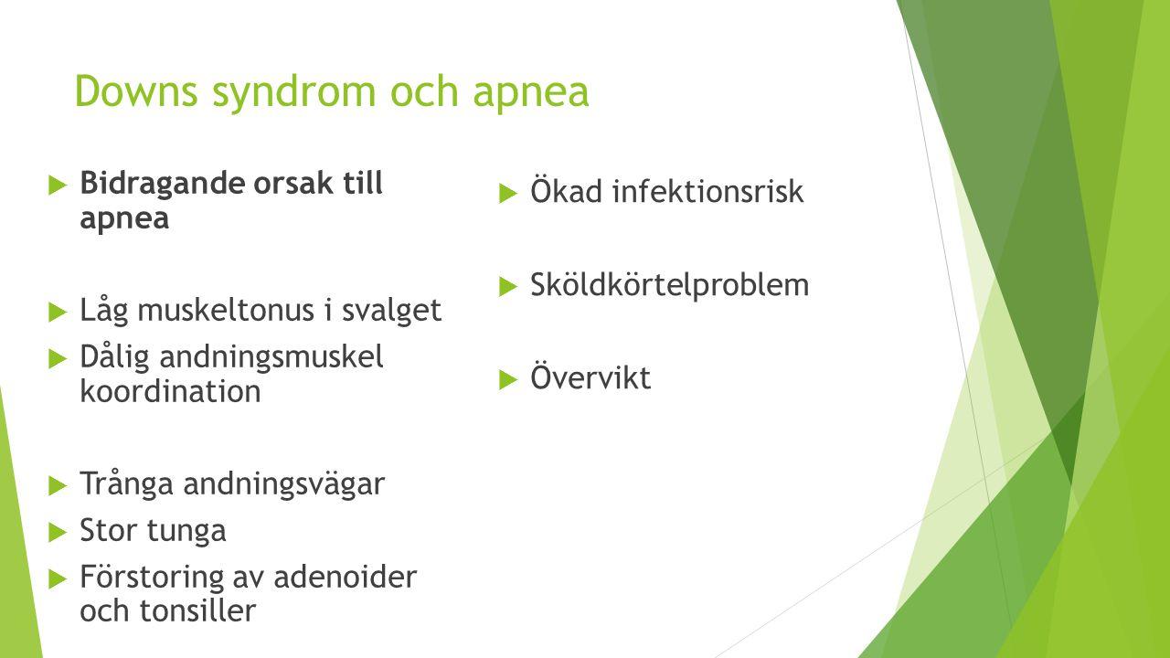 Downs syndrom och apnea  Bidragande orsak till apnea  Låg muskeltonus i svalget  Dålig andningsmuskel koordination  Trånga andningsvägar  Stor tu