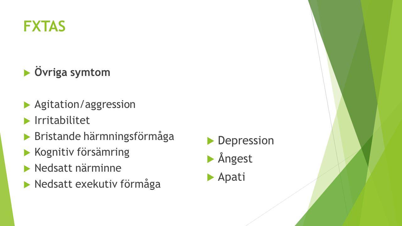 FXTAS  Övriga symtom  Agitation/aggression  Irritabilitet  Bristande härmningsförmåga  Kognitiv försämring  Nedsatt närminne  Nedsatt exekutiv
