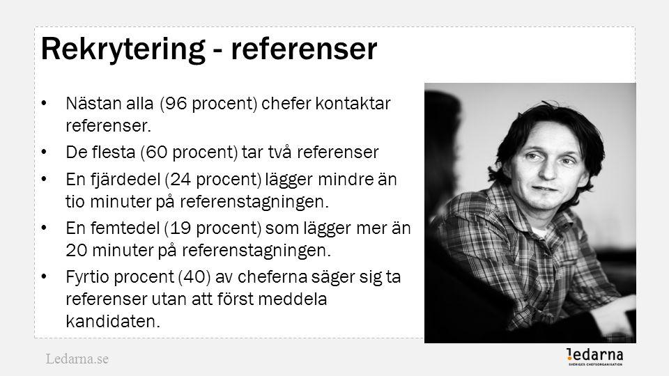 Ledarna.se Rekrytering - referenser Nästan alla (96 procent) chefer kontaktar referenser. De flesta (60 procent) tar två referenser En fjärdedel (24 p