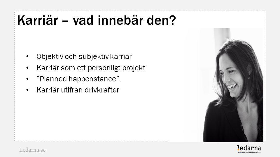 """Ledarna.se Karriär – vad innebär den? Objektiv och subjektiv karriär Karriär som ett personligt projekt """"Planned happenstance"""". Karriär utifrån drivkr"""