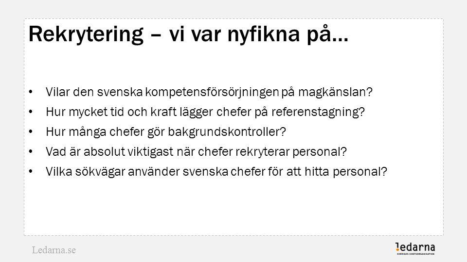 Ledarna.se Rekrytering – vi var nyfikna på… Vilar den svenska kompetensförsörjningen på magkänslan? Hur mycket tid och kraft lägger chefer på referens