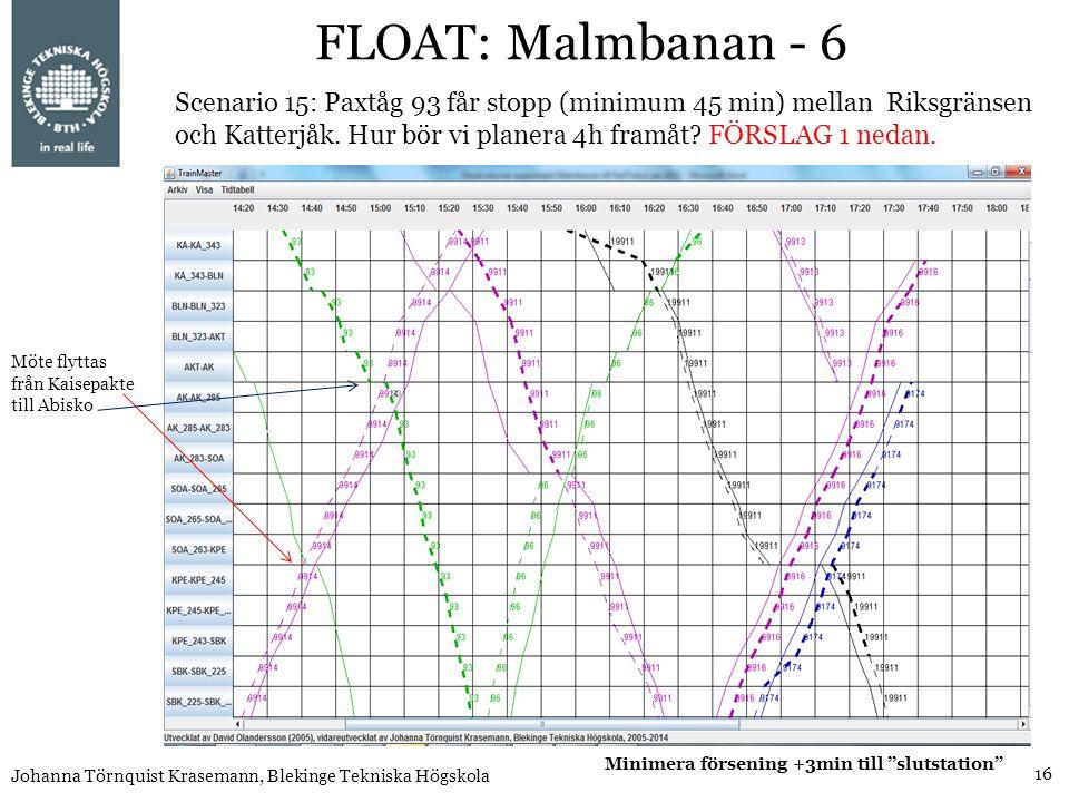 16 Johanna Törnquist Krasemann, Blekinge Tekniska Högskola FLOAT: Malmbanan - 6 Scenario 15: Paxtåg 93 får stopp (minimum 45 min) mellan Riksgränsen o