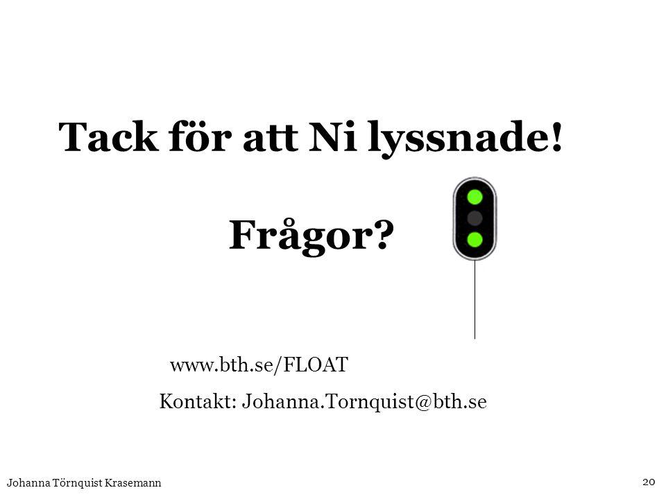 www.bth.se/FLOAT Kontakt: Johanna.Tornquist@bth.se Tack för att Ni lyssnade! Frågor? 20 Johanna Törnquist Krasemann